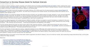Consortium to Develop Disease Model for Multiple Sclerosis