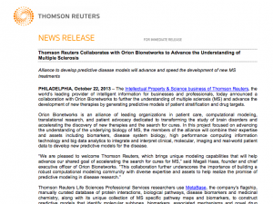 Thomson Reuters Collaborates with Orion Bionetworks