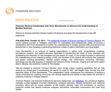 Thomson Reuters Collaborates with Orion Bionetworks to Advance the Understanding of Multiple Sclerosis