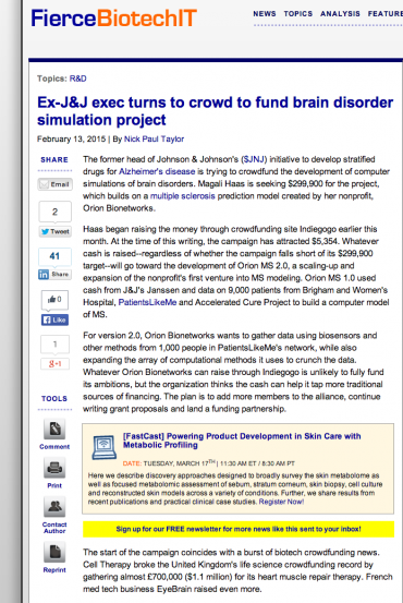 FierceBiotechIT article snippet - Ex-J&J exec turns to crowd to fund brain disorder simulation project