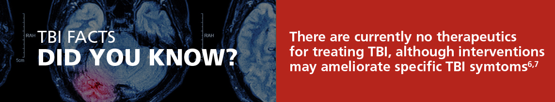 TBI Facts - There are currently no therapeutics for treating TBI, although interventions may ameliorate specific TBI symptoms