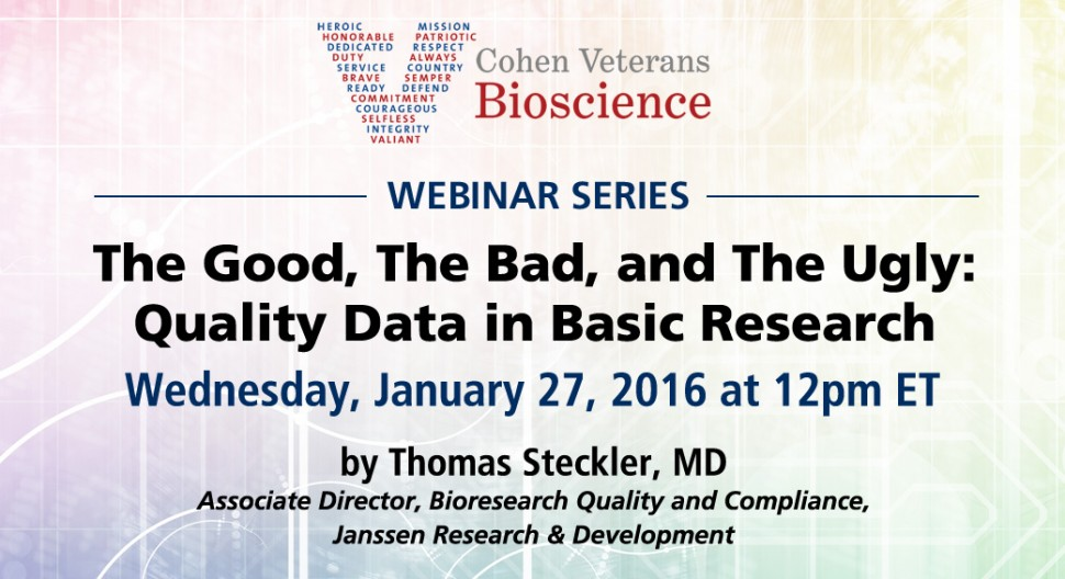 January 2016 Webinar - Cohen Veterans Bioscience