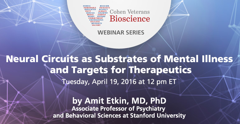 April 2016 Webinar - Cohen Veterans Bioscience