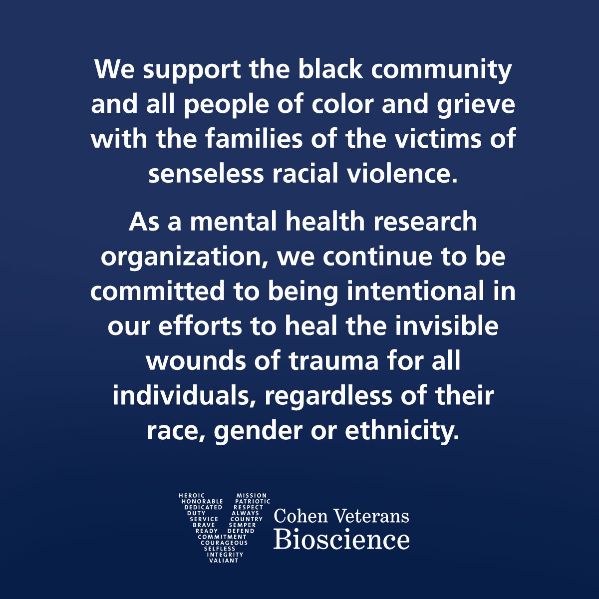 Cohen Veterans Bioscience Statement on Racial Justice