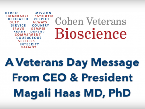 A Veterans Day Message from Cohen Veterans Bioscience CEO & President Dr. Magali Haas