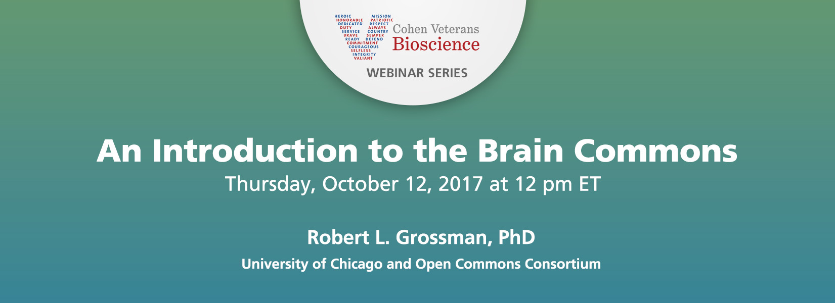 Cohen Veterans Bioscience Webinar Series - October 2017 Webinar