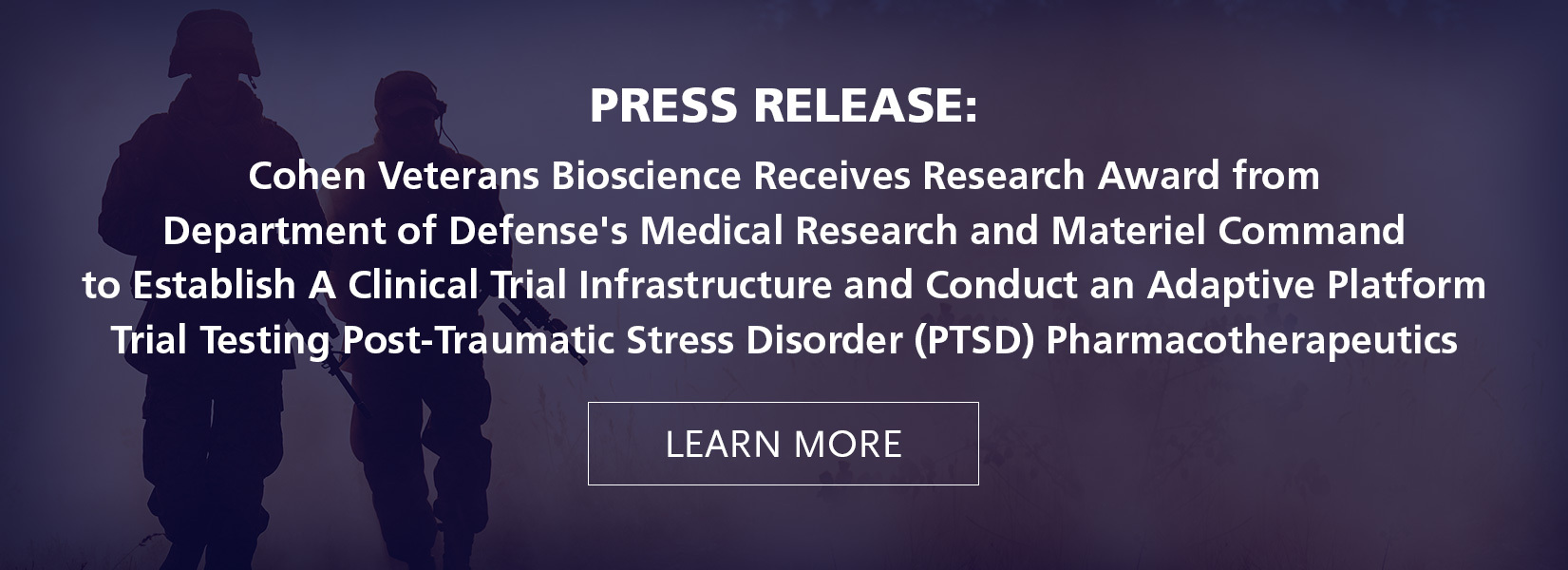 Cohen Veterans Bioscience Receives Research Award from Department of Defense