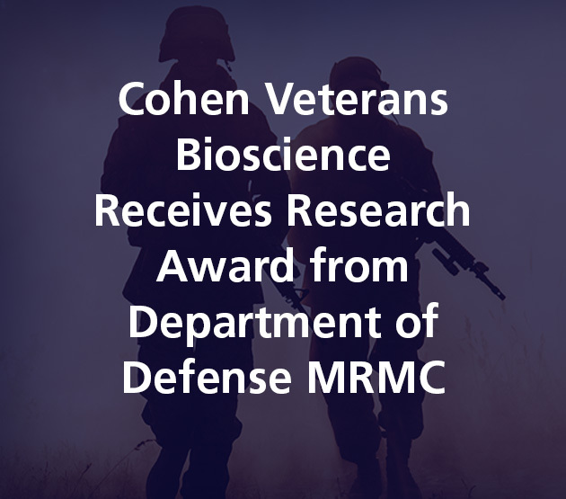 Cohen Veterans Bioscience Receives Research Award from Department of Defense MRMC