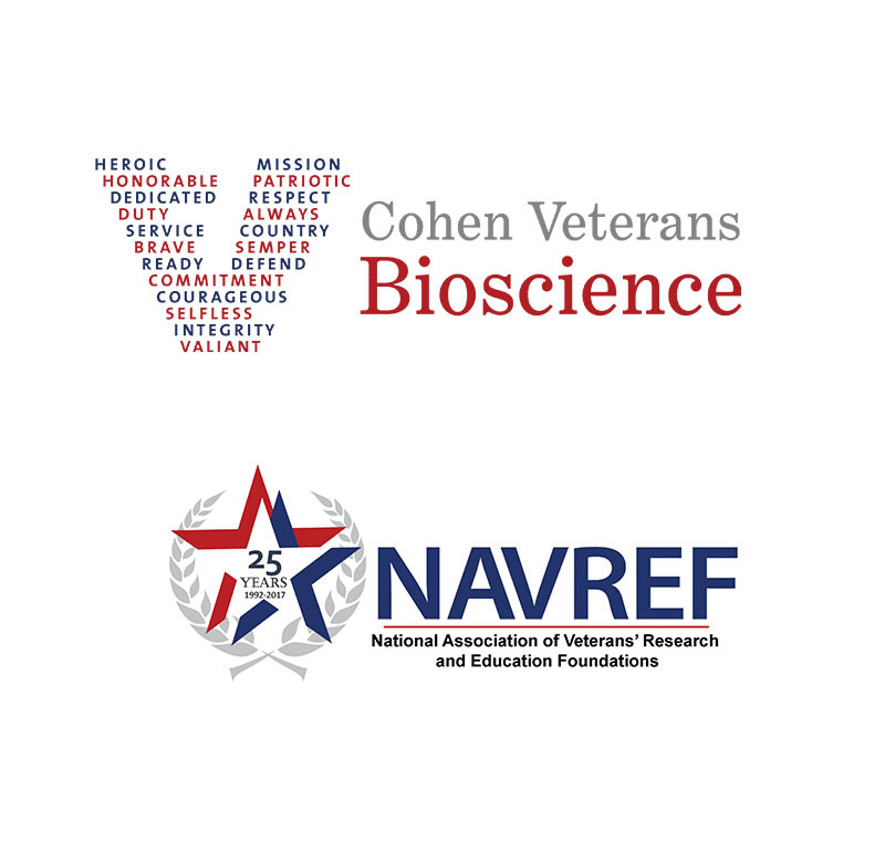 Cohen Veterans Bioscience and NAVREF logos