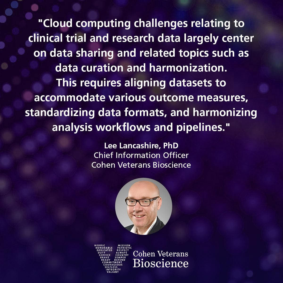 Quote from CIO Dr. Lee Lancashire
