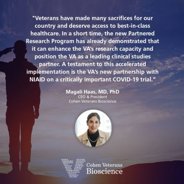 Quote from CEO and President, Dr. Magali Haas